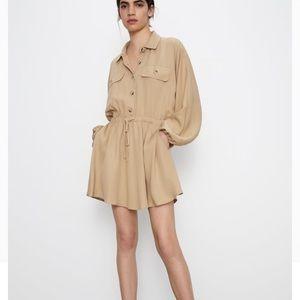 Zara Loose Khaki Button Dress